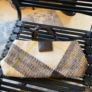 BURBERRY Plaid Wool Leather Trim Satchel Handbag